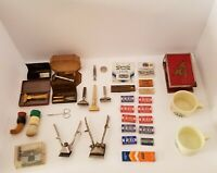 Vintage Shaving Collectible Lot, Razors, Blades, Brushes, Old Spice, LOOK
