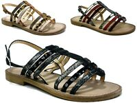 Ladies New Flat Slip On Open Toe Ankle Strap Holiday wear Women Sandals UK Size