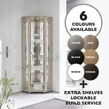 HOME Corner Glass Display Cabinet White Black Silver Beech Oak Wenge