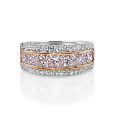 Real 2.56ct Natural Fancy Pink Diamond Engagement Ring 18K Solid Gold Princess