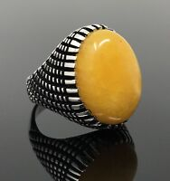 925k Solid Sterling Silver Yemeni Agate (Aqeeq) Men's Ring -US Seller- P3A