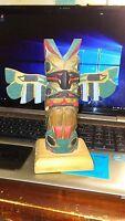 "Antique Native American Wood Carved Kachina Totem Pole 6"" Signed H RUDICK"
