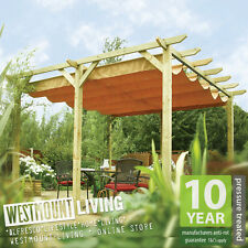 NEW GARDEN PATIO WOODEN RETRACTABLE PERGOLA WATERPROOF SUN CANOPY AWNING COVER