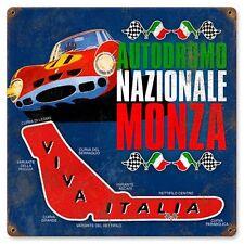 Monza Auto Car Racing Viva Italia Tin Metal Steel Sign Reproduction 12x12