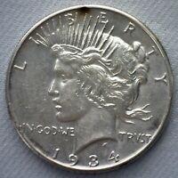 1934 Silver Peace Dollar Coin $1 US Coin Uncirculated One Dollar Coin