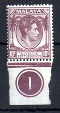More details for malaya straits settlements  kgvi 1937 10c sg284 control mint mnh ws11203