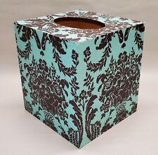 Made To Order, Handmade Decoupage Tissue Box Cover, Damask, Aquamarine & Brown