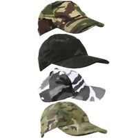 KIDS ARMY CAMOUFLAGE CAP BOYS GIRLS RIPSTOP HAT MTP DPM SAS BTP BLACK URBAN CAMO