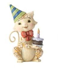 Jim Shore Mini Birthday Cat w Cake 2.9� H Enesco Nib Stone Resin