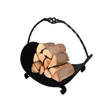 Black Heavy Duty Log Cradle Store Fire Basket with Handle Firewood Holder Rack