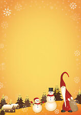 Motivpapier Briefpapier zwei nette Schneemänner Weihnachten 100 Blatt A4 Winter