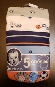 BOYS INFANT GERBER SPORTS VARIETY 5 PACK SIZE 3-6 MONTHS NWT BODYSUITS