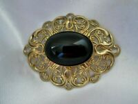 Vintage Bezel Set Jet Glass Cabochon 1970s Gold Tone Flower Leaf Brooch Pin