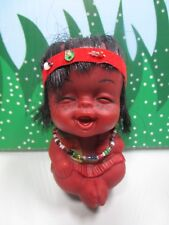 "1960's HAPPY NATIVE AMERICAN ROOTIE  BABY - 3"" MOODY Troll Doll - Hong Kong"
