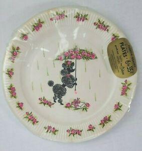 """6 Vintage Black Poodle Shower Paper Plates Pink Rose Umbrella 9"""" Baby Bridal"""