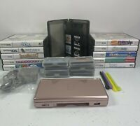 Nintendo DS Lite Rose Pink Handheld Console Bundle With 20 Games & Charger