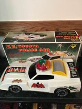 1970'S T.V. TOYOTA POLICE CAR W/ BATMAN DECALS BATTERY OPERATED -SOUND LIGHTS AN