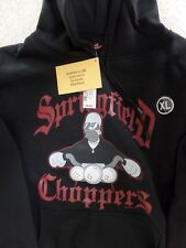 The Simpsons Springfield Choppers Men's Black Hoodie Cotton Blend Size XL NWT
