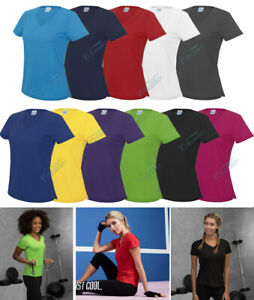 AWDis LADIES WOMENS  V-NECK T-SHIRT, SPORTS TOP FOR WORK OUTS, RUNNING, YOGA ETC