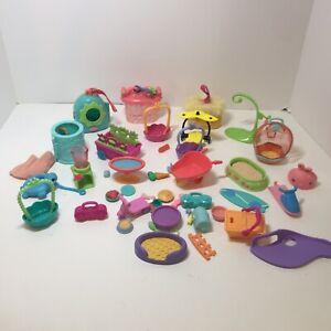 35 Assorted Pieces Littlest Pet Shop Hasbro Accessories Basket Perchs Food