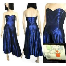 Vintage TOPSHOP 80s Dress Blue strapless party boned fit & flare evening NYE