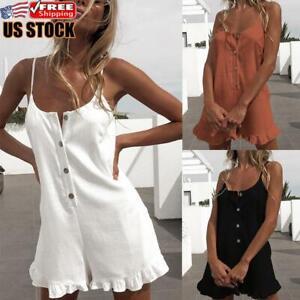Women's Cotton Linen Jumpsuit Romper Shorts Summer Ruffle Strappy Mini Playsuit