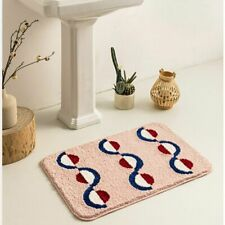 Bathroom Mat with Geometric Rhythmic Pattern Trendy Bathroom Rug Half Circles