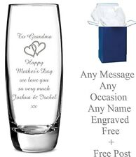 Personalised Engraved Vase Glass Bridesmaid, Mother of The Bride, Wedding Gift