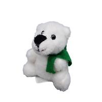 "Greenbrier White Polar Bear Plush 6"" Stuffed Animal Green Scarf Black Nose Eyes"
