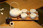 European Simple Modern White Ceramics + Bamboo Tea Cup Tea Pot 6 Pieces Set