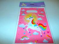 12 Unicorn Rainbow Loot Plastic Treat Goody Bags Birthday Party Favors Handles