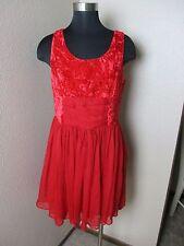 Free People Dress Velvet Chiffon Mini Lined Red Size 10 New