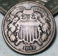 1869 Two Cent Piece 2C Ungraded Good Date Civil War Era US Copper Coin CC5693