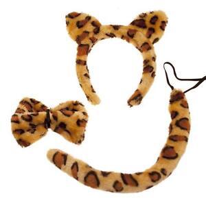 LEOPARD EARS & TAIL SET ANIMAL FANCY DRESS HEADBAND BOW TIE ADULT CHILD TIGER