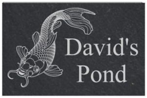 Personalised Pond, Koi  Fish Slate Door Gate Plaque  plate Sign
