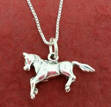 Sterling Silver Horse Necklace Solid 925 Charm Pendant and Chain pony