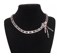 Vintage Signed PARCO Silvertone Choker Clear Rhinestones Necklace