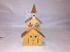 Wooden Church-shaped Music Box w/Little Wooden Angels in Windows