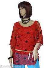 TREND Shirt Netzshirt Bluse Tunika Sterne doppellagig 36 38 40 42 44 Farbauswahl