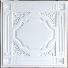 Ceiling tiles Faux tin finish white cafe decor wall panel 10tile/lot PL65