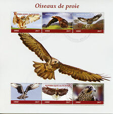 Chad 2017 CTO Birds of Prey 6v M/S Falcons Ospreys Eagles Stamps