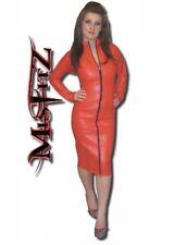 Misfitz red leather look mistress dress 2 way zip size 18. TV Goth Biker Pin Up