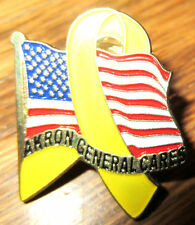 Akron General Cares Pin Back Yellow Ribbon Troops Flag Usa Tire Company