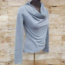 Converse One Star Womens Size S Gray Side Zipper Casual Cowl Neck Blouse Top