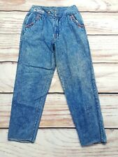 Vintage High Waist Baggy Tapered Acid Wash Rope Pocket Jeans W28 UK 10