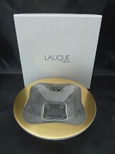 """LALIQUE COUPELLE TREFLE OR GOLD ACCENTED BOWL 4.75"""" x 1.25"""" NIB"""
