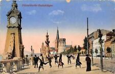 Rarität Litho AK 1918 Düsseldorf Radschläger an Uferpromenade Rad schlagen Rhein