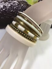 Brass And White Resin Lucite Panel Bangle Bracelets Set Of 7
