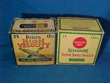 2 Orig 1930s PETERS + REMINGTON 12 ga SHOTGUN SHELL Empty ADVERTISING BOXES