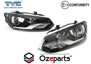 Set Pair LH+RH Head Light Lamp Twin Round No LED For VW Volkswagen Polo 6R 10~14